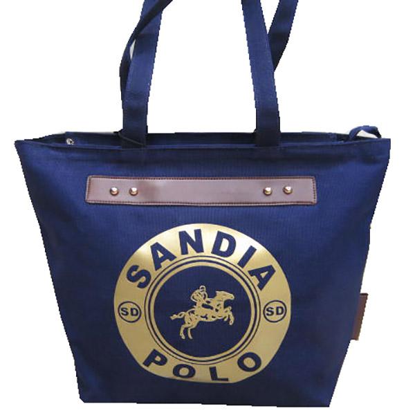 ~雪黛屋~SANDIA POLO 托特包大容量可A4資料夾肩側包加強防水帆布肩背手提PO700-12042-5