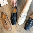 小皮鞋.復古縫線設計繫帶小皮鞋.白鳥麗子