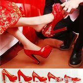 新款婚鞋女紅色高跟鞋結婚敬酒紅鞋粗跟繡花秀禾鞋中式新娘鞋 卡布奇諾