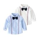雙線條領結長袖襯衫 襯衫 男童 婚禮 喜宴 表演 花童 拍照 攝影 畢業典禮 兒童 童裝 橘魔法 現貨