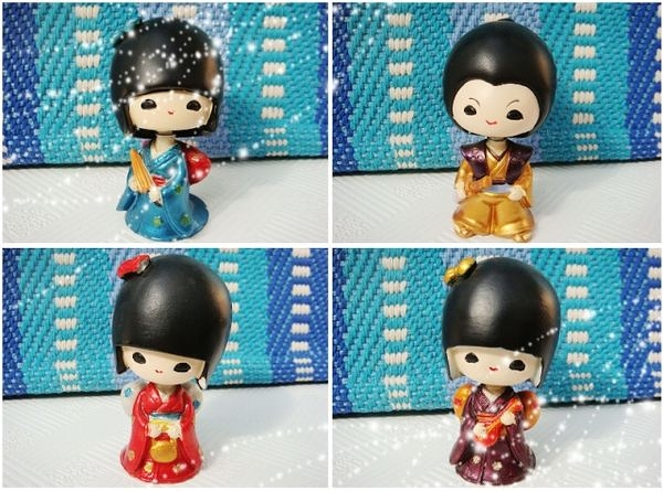【日式-和服小女孩】工藝品擺件4個組