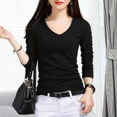 黑色T恤女長袖打底衫2018秋冬新款修身顯瘦上衣