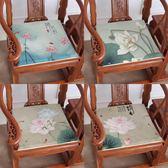 促銷款坐墊 中式坐墊復古紅木沙發椅墊餐椅墊 荷花 加厚海綿座墊
