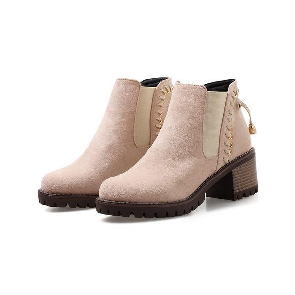 {丁果時尚}大尺碼女鞋34-43►歐美明星款絨皮鬆緊口尖頭中跟短靴*3色