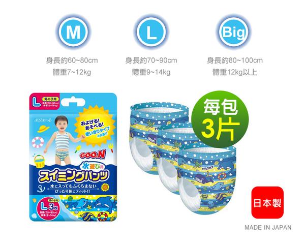 大王GOO.N 戲水專用 紙尿褲(游泳尿布)3入-男生用 M 99元(現貨11組)