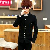 青年韓版立領西服男士春夏季中山裝薄款上衣個性修身西裝休閒外套「時尚彩虹屋」