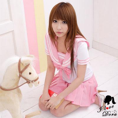 水手服 粉紅白色高校角色扮演學生制服百摺裙- 愛衣朵拉