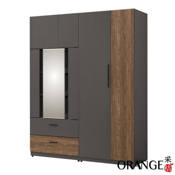 【采桔家居】奈洛比 現代5尺開門鏡面二抽衣櫃/收納櫃組合(可旋轉穿衣鏡面)