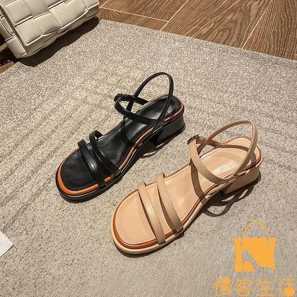 涼鞋女仙女風時尚粗跟中跟一字扣羅馬高跟鞋夏季【慢客生活】