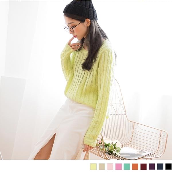 OrangeBear《FA0460》溫柔素雅~圓領麻花編織針織長袖上衣--適 XL~4L