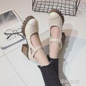 單鞋女英倫風百搭粗跟高跟瑪麗珍女鞋韓版休閒小皮鞋 韓語空間