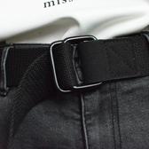 皮帶 休閒帆布軍訓腰帶通用雙環扣皮帶青少年學生時尚女生腰帶男士韓國