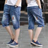 男童夏季單寧牛仔短褲正韓夏裝薄款兒童褲子五分褲10歲11童褲-BB奇趣屋
