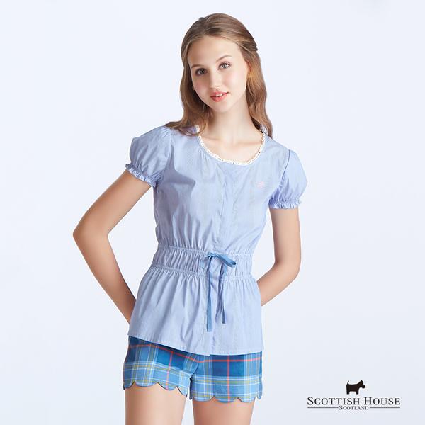 蕾絲領口束腰細條紋造型上衣 Scottish House【AC1359】