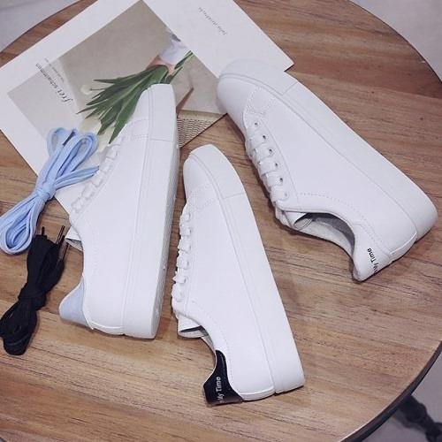 休閒鞋.百搭拼接字母繫帶小白鞋.白鳥麗子