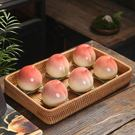 創意桃子茶葉罐陶瓷 迷你小號壽桃密封罐擺件 生日大壽宴回禮禮品