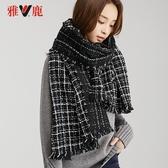 圍巾2020秋冬季格紋圍巾女百搭加厚保暖兩用披肩春季新品