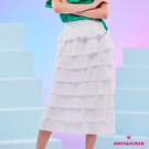 【SHOWCASE】韓版8層蛋糕層次顯瘦中長款魚尾裙(白)