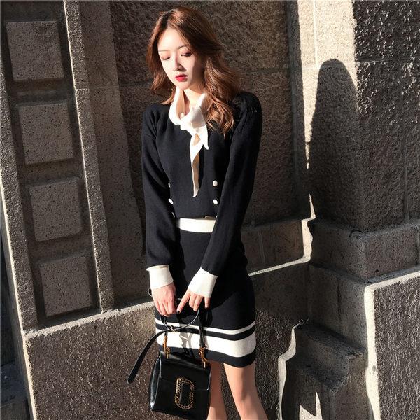 VK旗艦店 韓系氣質時尚領結拚色套裝長袖裙裝
