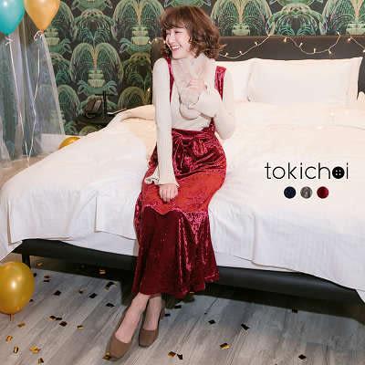 東京著衣-多色日本雜誌款修身綁帶絨毛吊帶裙-S.M(172706)