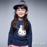 《Mini Jule 童裝》上衣 絨毛兔子棉質長袖上衣(寶藍)