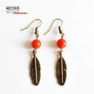 女款耳環 紅珊瑚石古銅色羽毛墜藏飾風格耳環 民族飾品