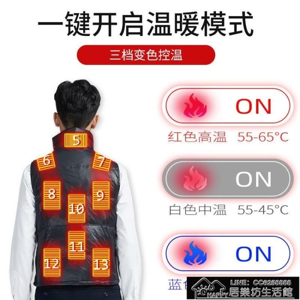 發熱馬甲 電熱羽絨馬甲男智能控溫自發熱充電加熱保暖衣服女背心馬夾坎