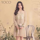 東京著衣【YOCO】微性感網紗透膚蕾絲百褶洋裝-S.M.L(180112)