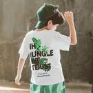衣童趣↘韓版中大男童夏日短袖上衣 休閒印花百搭樹葉短T恤