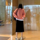 長袖T恤 韓系寬鬆百搭假兩件圓領長袖上衣 花漾小姐【預購】