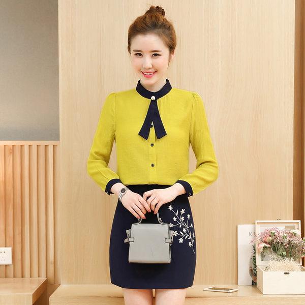 限時38折 韓系OL時尚新款領結襯衫修身繡花包裙套裝長袖裙裝