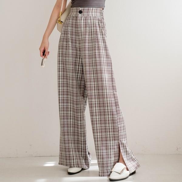 MIUSTAR 英倫風!格紋側開衩西裝寬褲(共2色)【NJ1659】預購