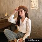 襯衫秋季上衣韓版法式小眾娃娃領襯衫女學生洋氣百搭白色襯衣【快速出貨】