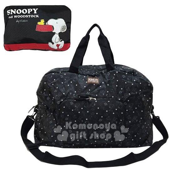 〔小禮堂〕史努比 折疊尼龍拉桿行李袋《黑紅.咬狗碗》旅行袋.肩背袋 4990270-12251