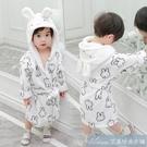 女童家居服秋裝新款小童浴袍兒童法蘭絨系帶連帽睡袍男童寶寶睡衣 快速出貨