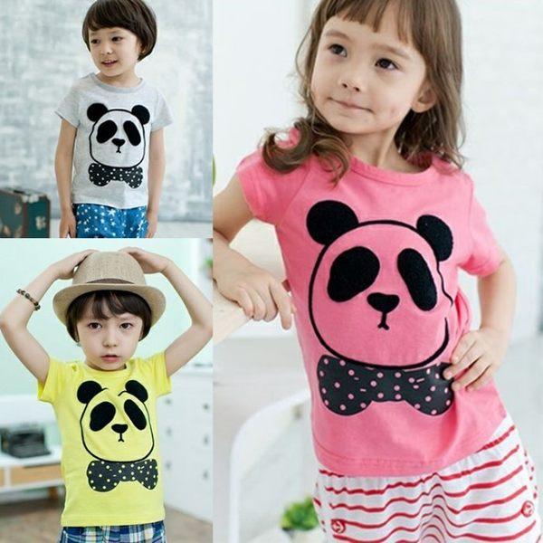 可愛《亮彩小熊貓》百搭短袖上衣