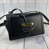 BRAND楓月 LOEWE 羅意威 黑色 BARCELONA 小型 三角金屬LOGO 設計 皮革 皮質 肩背包 側背包