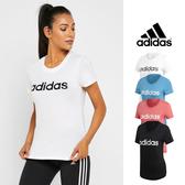 【GT 】Adidas 黑粉白藍短袖T 恤女款合身純棉 休閒訓練上衣短T 愛迪達 款Logo DP2361