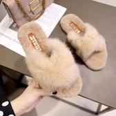 半拖鞋 2020新款秋季百搭韓版時尚外穿chic原宿毛毛拖鞋社會平底半拖女鞋  艾維朵