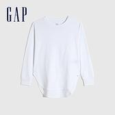 Gap女童 棉質舒適亮色圓領長袖T恤 661671-白色