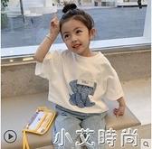 童裝女童夏季短袖T恤寶寶夏裝2021年新款兒童網紅洋氣上衣體恤潮 小艾新品