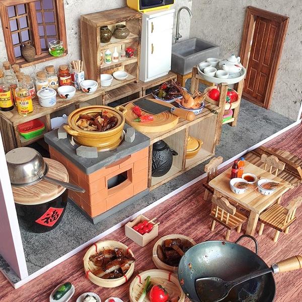 網紅做飯小廚房迷你真實版食玩微縮可以真煮食材過家家餐臺玩具
