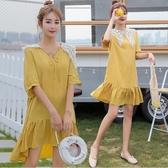 漂亮小媽咪 魚尾洋裝 【D1452】 兩穿 蕾絲領 短袖 孕婦裝 孕婦洋裝 五分袖 魚尾裙