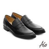 A.S.O 職人通勤 簡約全真皮直套式紳士皮鞋  黑