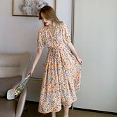 洋裝 碎花連身裙-媚儷香檳-【D1674】
