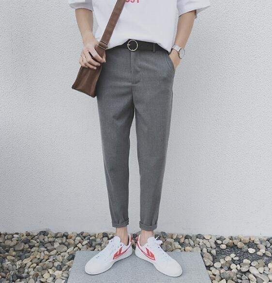 FINDSENSE MD 韓國 潮 男 時尚 百搭 簡約 哈倫褲 休閒長褲 九分