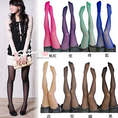 【F022】shiny藍格子-超實搭單品.夏日糖果色透膚感彈性褲襪