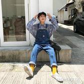 吊带裤馨幫幫 韓版學院風牛仔寬鬆顯瘦小清新可愛直筒背帶褲女 時尚教主