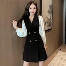 職業洋裝 秋季新款網紅復古洋氣減齡連衣裙子港味森系休閒西裝裙子 莎瓦迪卡