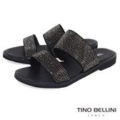 Tino Bellini 雙條帶璀璨亮鑽平底涼拖鞋 _ 黑 A73045A